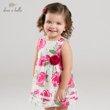 Dave bella summer baby girls Princess Party Wedding dress children floral sleeveless dresses toddler infant clothes DBA6655