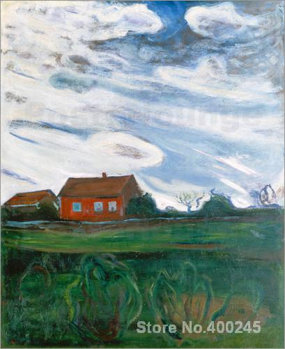 Das rote Haus. Edvard Munch painting for room decoration High quality ...