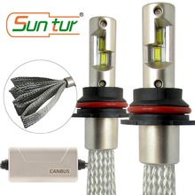 Suntur 9007 HB5 CanBus Error Free LED Fanless Headlight Bulbs 100W 10000LM 6000K White suntur 100w 9004 hb1 10000lm hi low beam light 6000k canbus error free led fanless headlight conversion kit white