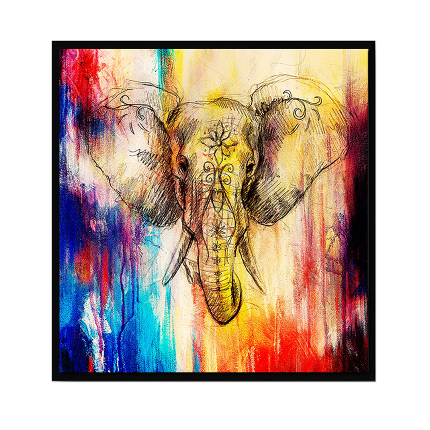 Abstract Art Style Elephant Printed Canvas Decoration Wall Art for Home Living Room Bedroom Office Hotel Pub 20 x 20cm - intl