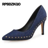 Blue Women Stiletto Plus Size 4 34 Famous Stud 3 Inch Celebrity 2017 33 10 42
