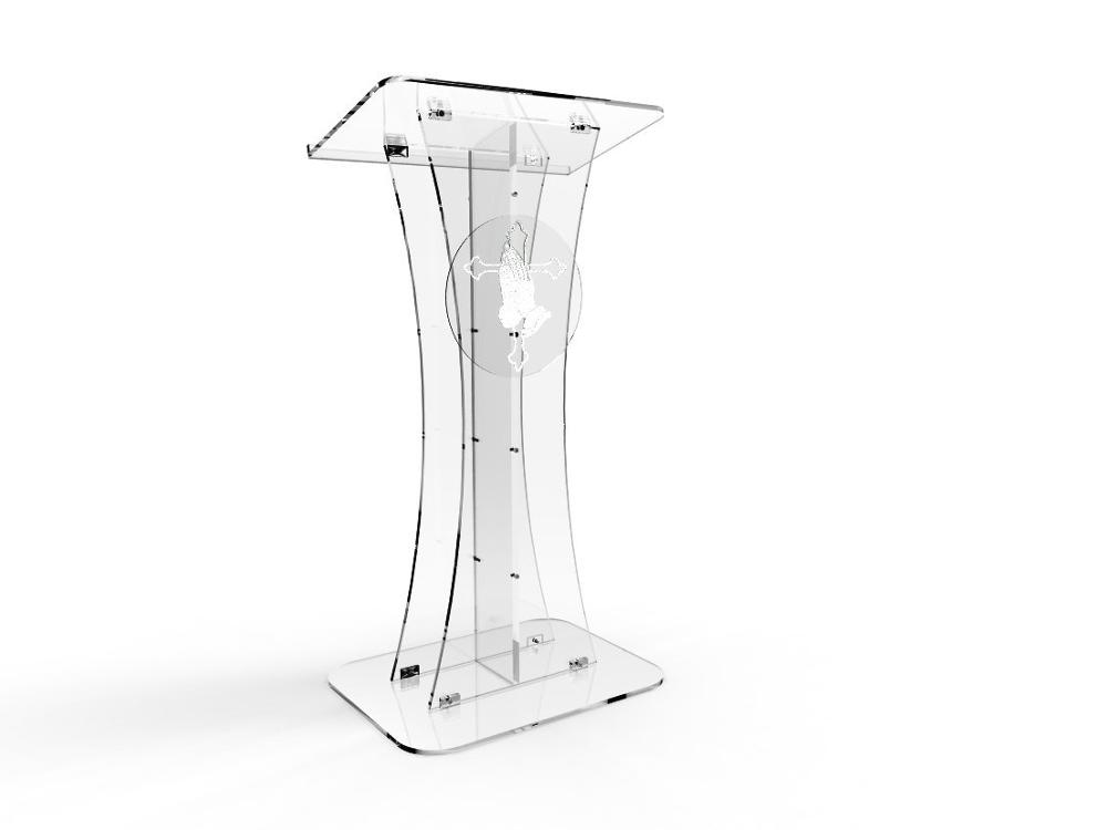 Купить с кэшбэком Fixture Displays Plexiglass Acrylic Podium Clear Lectern Church Pulpit With Pray Hand decor