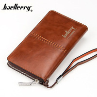 2016 Luxury Male Leather Purse Men S Clutch Wallets Handy Bags Business Zipper Wallets Men Brown