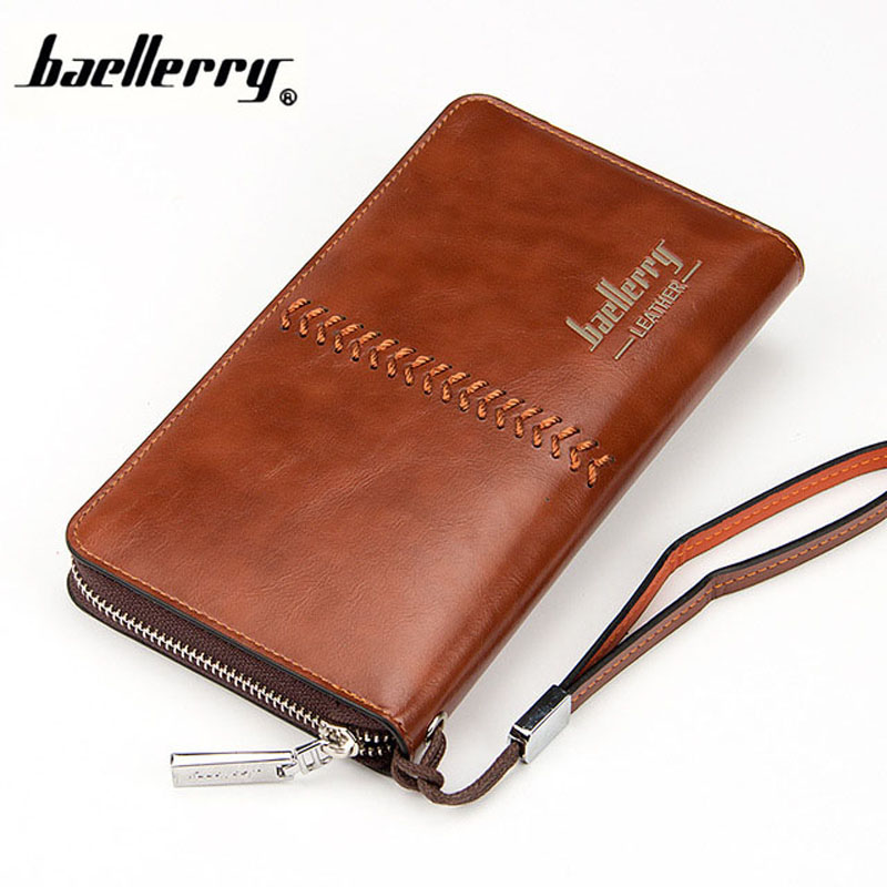 2016 Luxury Male Leather Purse Men's Clutch Wallets Handy Bags Business zipper Wallets Men Brown Black Dollar Price Coin Purse 2016 famous brand new men business brown black clutch wallets bags male real leather high capacity long wallet purses handy bags