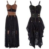 Women's Steampunk Vintage Gothic Victorian Brocade Overbust Corset Dress Party Clubwear