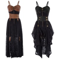 Women's Steampunk Vintage Gothic Victorian Brocade Overbust Corset Dress Party Clubwear