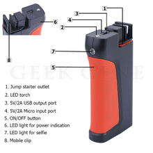 Geek Gene Multi-Function 12V Car Jump Starter Power Bank Portable Bluetooth Self-timer SOS Lights Mobile Car Charger Free Ship
