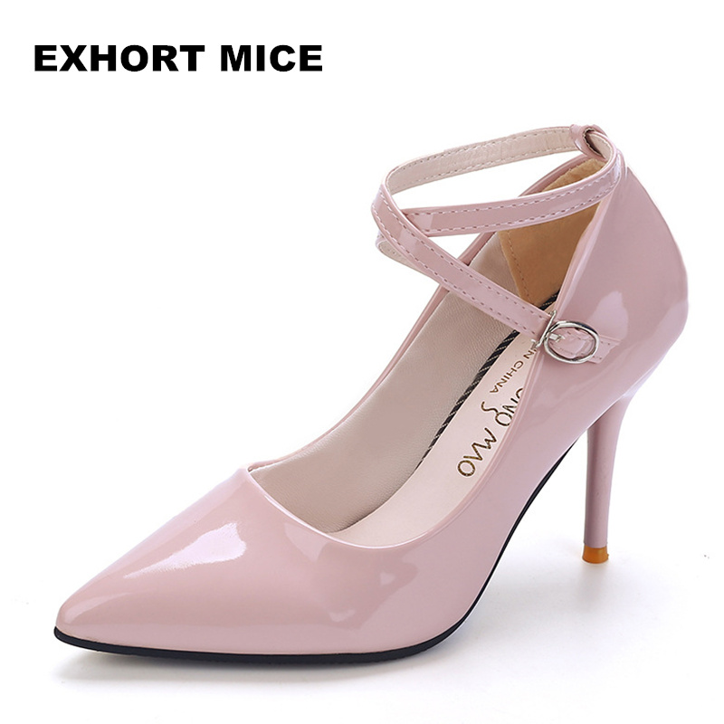 2018 Women Shoes Wedding High Heels Women Sapato Feminino Chaussure Femme Pumps Heel Sexy  Sapatos De Salto Alto Ankle Strap
