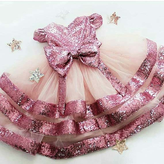 Glitter blush pink bling sequins baby girl birthday party dresses kids beauty pageant performing dancing dress