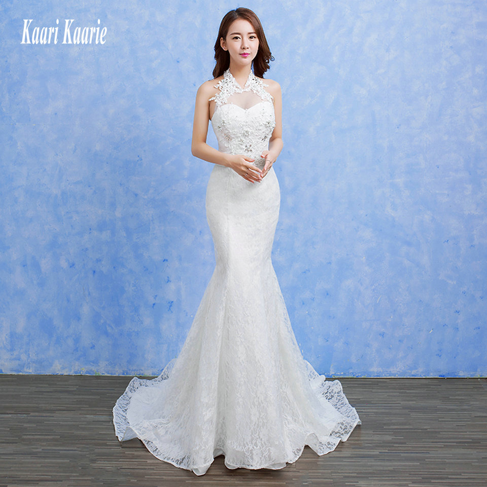 Cheap White Ivory Wedding Dresses Mermaid Lace Appliques: Formal Ivory Mermaid Wedding Dresses 2018 Wedding Gowns