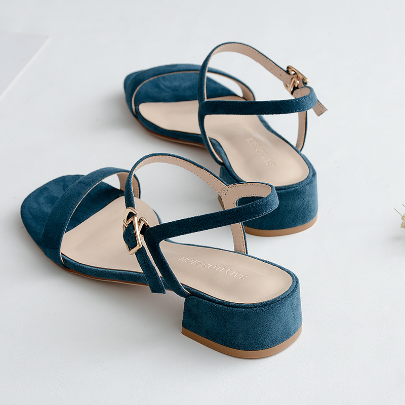sandals Female 2018 summer Korean version Square head Thick with sandals Low heeled Word buckle Women 39 s shoes in Middle Heels from Shoes