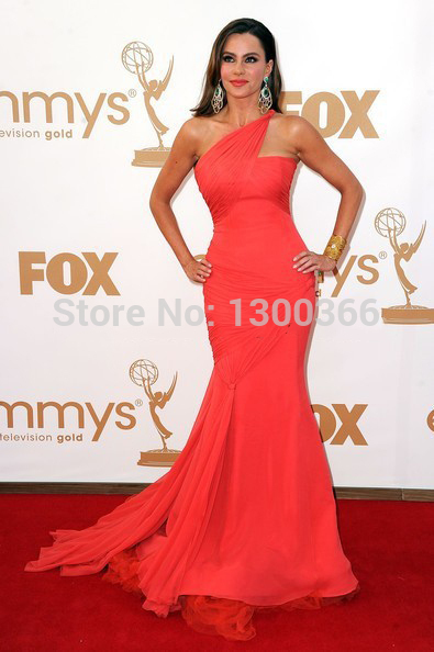 Sofia Vergara Celebrity Dresses Red Carpet 2014 Mermaid Coral Chiffon Sexy Evening Gown One Shoulder Ruched Bodice Formal Party