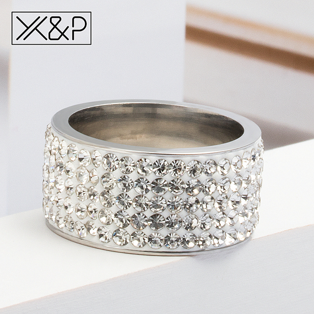 X&P Fashion Charm 5 Row Lines Clear Crystal Finger Rings for Women Men Classic Wedding Rhinestone Stainless Steel Ring Jewelry