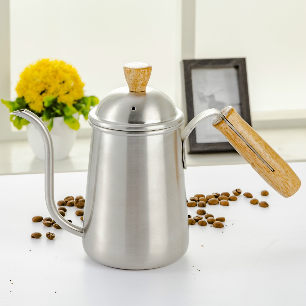 stainless steel and wooden handle long spout drip coffee kettle mini stainless steel handle cuticle fork silver