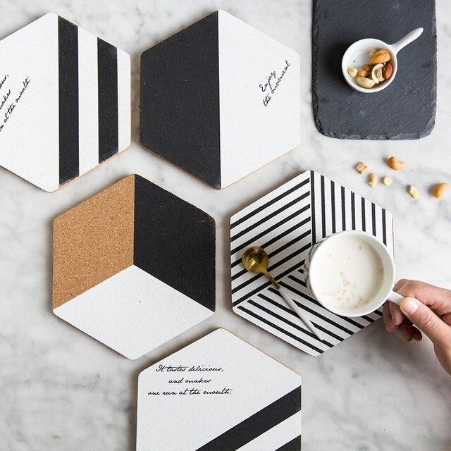 Simple negro blanco madera bebida posavasos taza de café alfombrilla de té comedor moda suave manteles de madera accesorios de decoración 1 piezas