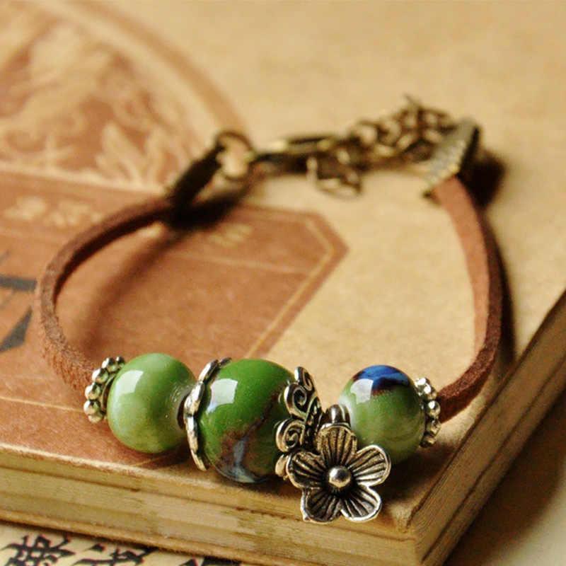 Кожаные браслеты Подвески в виде керамических бусин для женщин и мужчин Цветочная манжета браслеты браслет из цепочки регулируемые ювелирные изделия аксессуары