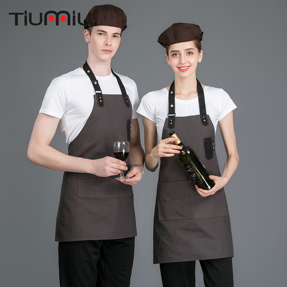 Hanging Neck Chef Waiter Aprons Kitchen Hotel Coffee Shop BBQ Bakery Restaurant Cook Barber Shop Work Wear Pinafore Uniforms