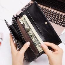 Купить с кэшбэком GZCZ Women Wallets Genuine Leather Cell Phone Bags Card Holder Long Black Wallet Female Trifold High Quality Purse Coin Pocket
