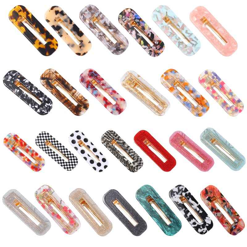 Japanese Style Acetate Geometric Hair Clips Sweet Jelly Colored Rectangle Hairgrips Retro Polka Dot Glitter Shimmer Barrettes