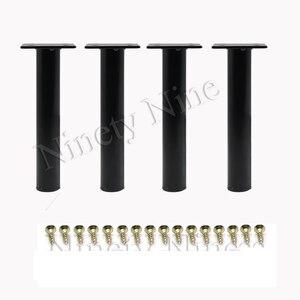 Image 1 - 4 sztuk Metal regulowany okrągła szafka wersalka szafka stóp nogi stóp wsparcie za pomocą śrub 130MM lub 150MM