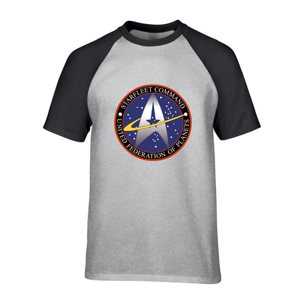 2019 Men's Star trek United Federation of Planets   T     Shirt   Men Short Sleeve Cotton   T  -  Shirt   Homme O-neck Printed Young man blouse