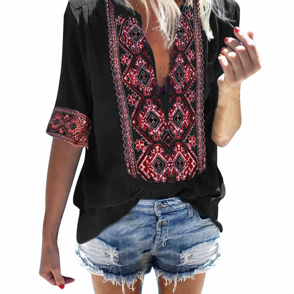 High Quality Casual Women Ethnic Style Bohe Half Sleeve V-Ncek Vintage Top Blouses Travel Teenage Holiday