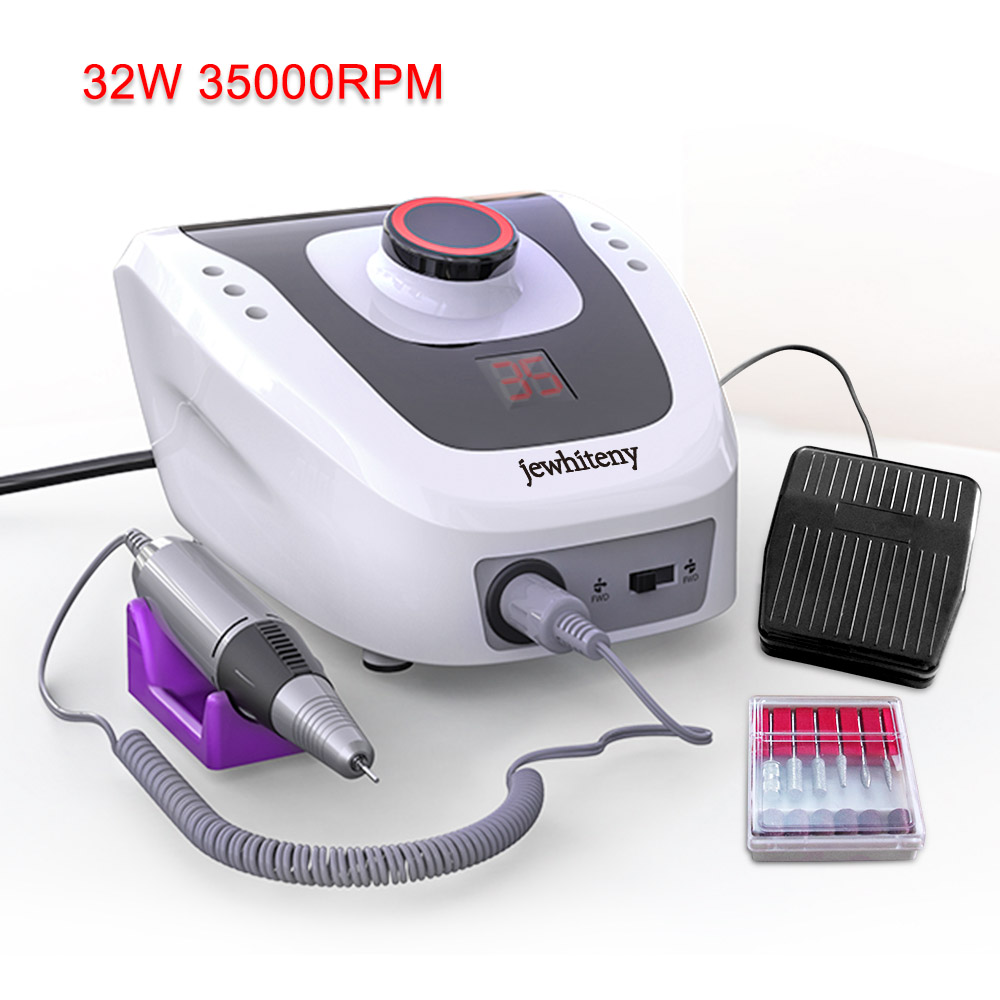 Electric Nail Drill Machine Tools 35000RPM 32W Electric Acrylic File Nail Cutter Manicure Machine Pedicure Electric File Bits