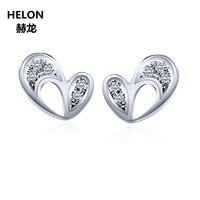 Твердые 14 к белое золото холодные природные Бриллианты Женские серьги Модные ювелирные изделия уникальное сердце