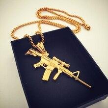 Original European Street Fashion Jewelry  Pistol Machine Gun Pendant Necklace Stainless Steel Gold Plated Men Hip Hop Necklace