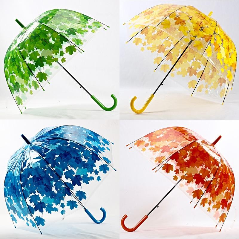 Woman Umbrella 4 Colors Creative Parasol Cute Fresh PVC Transparent Mushroom Leaves Cage Arch Umbrella Child Long/Rain Umbrella