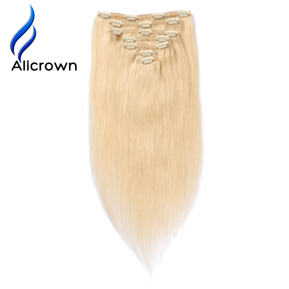 Alicrown Hair Blonde 613 Color Clip In Human Hair Extensions 7pc Brazilian Remy Hair Full Head Clip Hair 100G Free Shipping