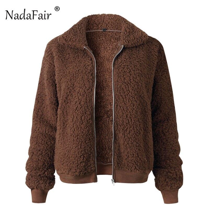 Nadafair Faux Fur Coat Women Autumn Winter Fluffy Teddy Jacket Coat Plus Size Long Sleeve Outerwear Turn Down Short Coat Female 14