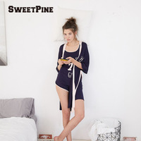 3pcs/set Women Nightgown Leisure Style Letters Printed Vest with Long Shawl Shirt Short Pants Casual Loose Nightdress