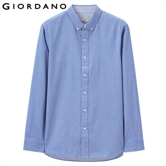 Giordano Men Slim Shirt Long Sleeve Shirts For Men 100% Cotton Interlock Shirt Men Casual Camisa Masculina Chemise Homme 1