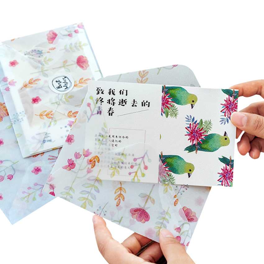 3pcs/Lot Prime Years Jinshi Series Sulfuric Acid Paper Envelope Translucent Handmade Envelope Wedding Letter Invitation