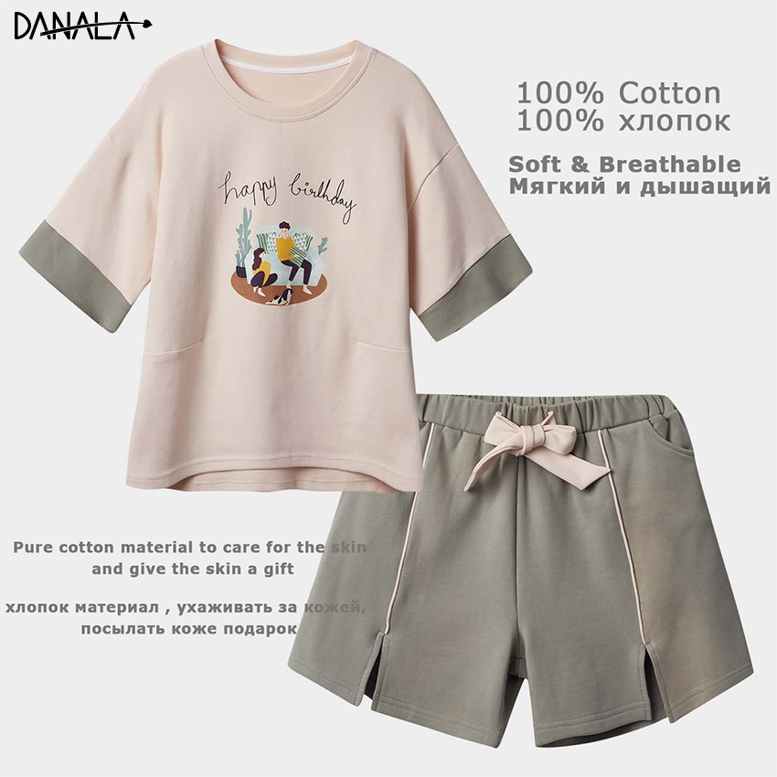 DANALA 100% Cotton Casual Pajamas Sets Women Short Sleeve Print Sleepwear Sets Girls Home Clothes For Women Home Suits