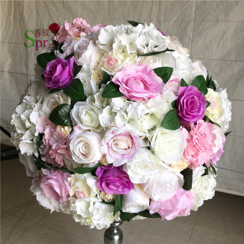 SPR NEW Free shipping 10pcs lot mix color wedding road lead lavender artificial flower ball wedding