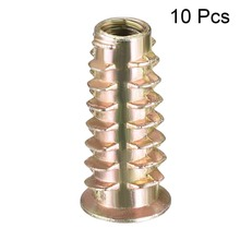 Uxcell Hot High Quality 10pcs M6 M8 M10 Bronze Tone Zinc Alloy Hex Drive Flat Head Thread For Wood Insert Nut Furniture Nuts
