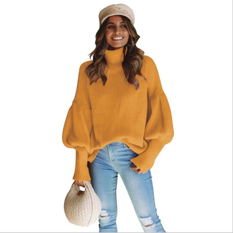 Aprmhisy knitted turtleneck sweater women casual lantern sleeve pullover autumn winter streetwear pullovers 2018