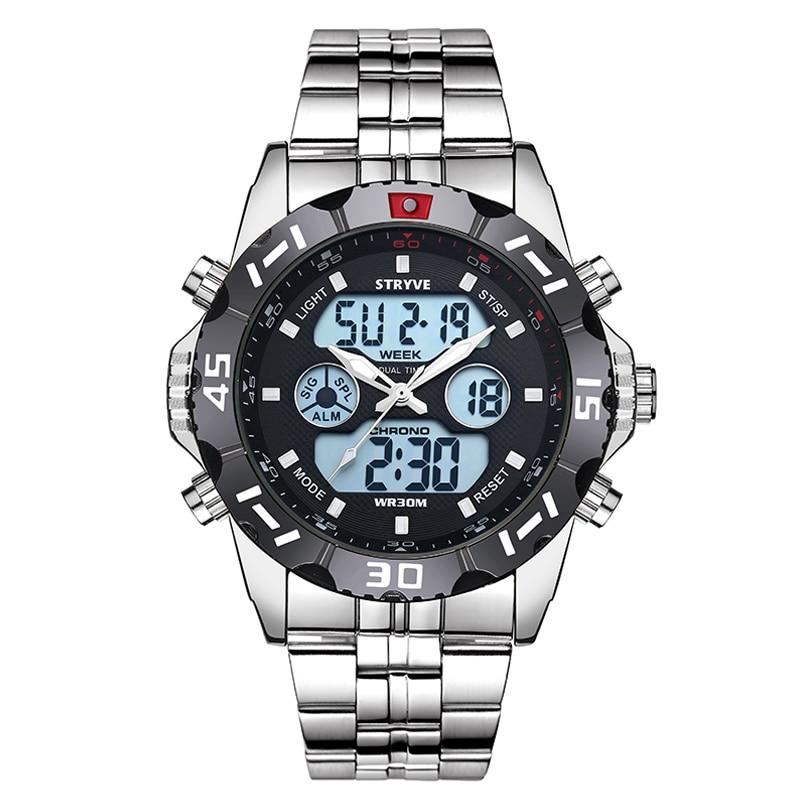 STRYVE 2019 Week Date LED Back Light Watch Waterproof Stainless Steel Strap  Military Silver Watch Digital Quztar Top Brand