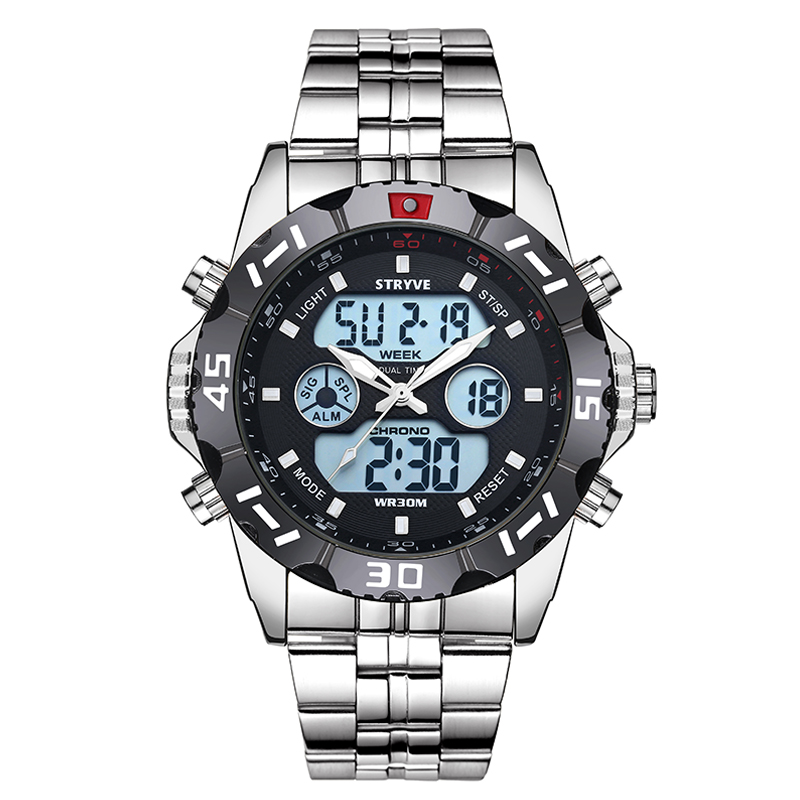 STRYVE 2019 Week Date LED Back Light Watch Waterproof Stainless Steel Strap Military Silver Watch Digital Quztar Top Brand