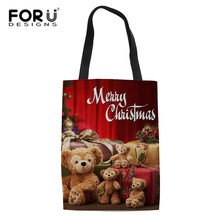 FORUDESIGNS Christmas Shopping Bags For Vegetables Fruit Gifts Grocery Shopper Tote Shoulder Bags Candy Color Totes Home Storage