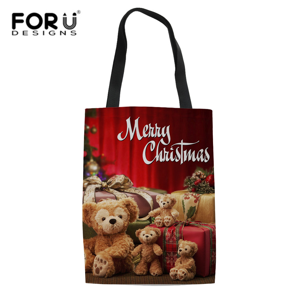 FORUDESIGNS Christmas Shopping Bags For Vegetables Fruit Gifts Grocery Shopper Tote Shoulder Bags Candy Color Totes Home Storage ...