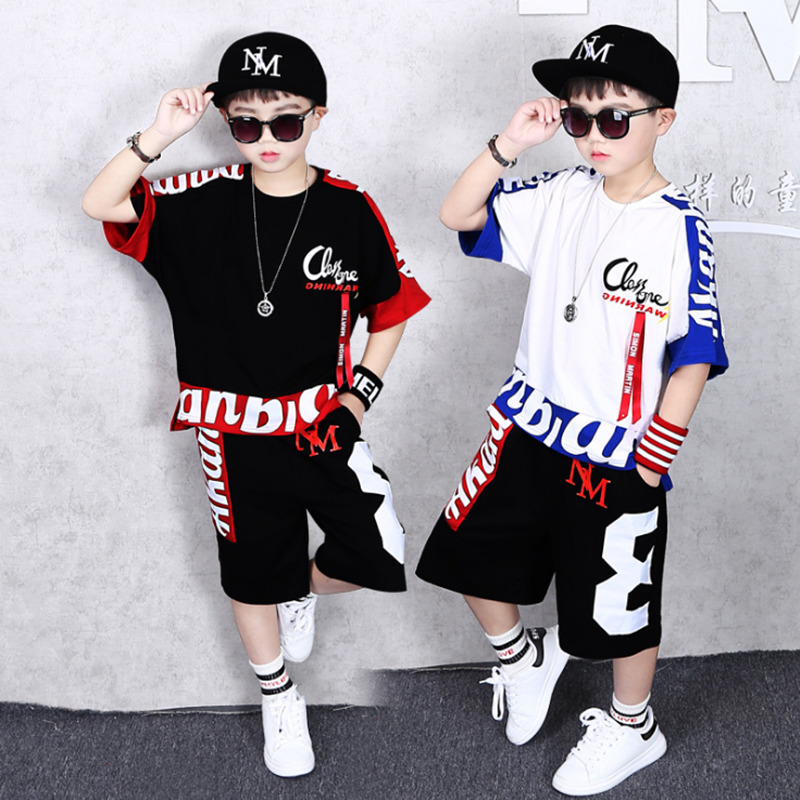 Boys Clothes Sports Suit Boy 2019 Summer Set Two-piece Children's Wear stitching suit 4 6 8 10 12 14 16 Years old Child clothes