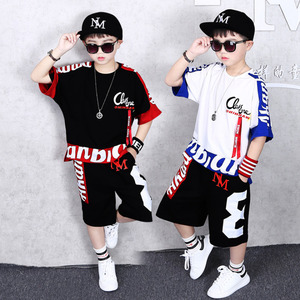 Image 1 - Boys Clothes Sports Suit Boy 2019 Summer Set Two piece Childrens Wear stitching suit 4 6 8 10 12 14 16 Years old Child clothes