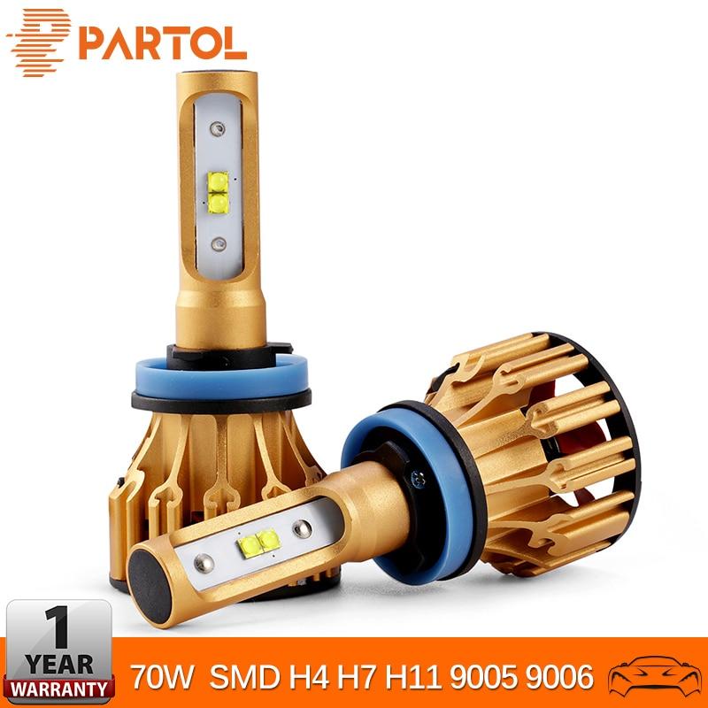 Partol H4 H7 H11 Mobil LED Headlight Bulbs 70W 7000LM SMD LED Chips 9005 9006 Mobil Headlamp LED Fog Lights 6500K 12V 12V 24V