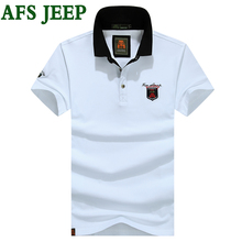 AFS JEEP Summer Mens Polo Shirt Brands Casual Solid Polo Shirts Clothing Short Sleeve Fashion Embroidery Polo Shirt Men 50