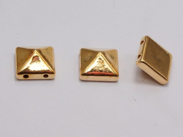 100 Metallic Tone Rock Punk Square Pyramid Rivet Beads Acrylic Studs Beads 10mm