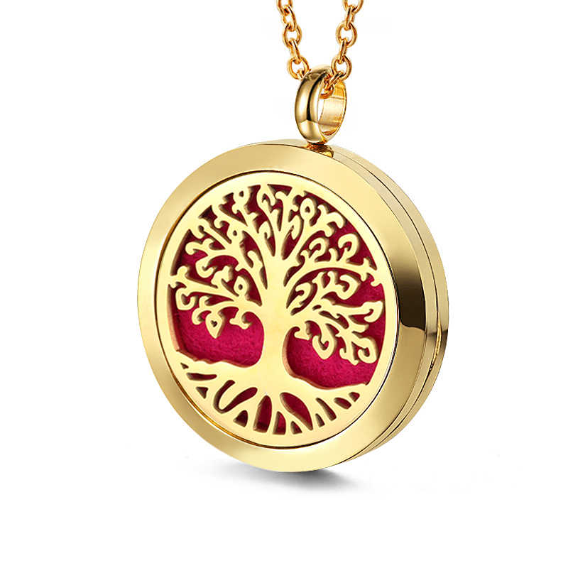 Baum Des Lebens Aushöhlen Magnetische Aromatherapie Diffusor Halskette Schmuck Parfüm Medaillon Anhänger Ätherisches Öl Medaillon Halskette