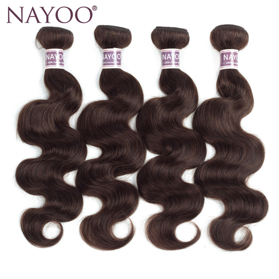 NAYOO Human Hair 4 Bundles Brazilian Body Wave Hair Weave Bundles Dark Brown Color #2 Non Remy Hair Extensions 10-24